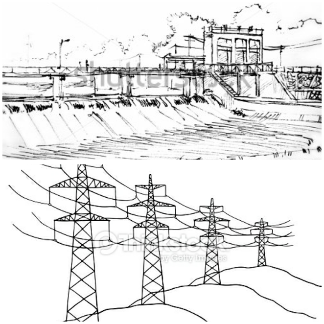 जलविद्युत उत्पादन संरचना तथा प्रसारण लाइन