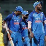 Cricket - India v Australia - First One Day International Match - Chennai, India – September 17, 2017 – Hardik Pandya of India (2R) celebrates his team's victory with his teammates as James Faulkner of Australia (L) looks on. REUTERS/Adnan Abidi