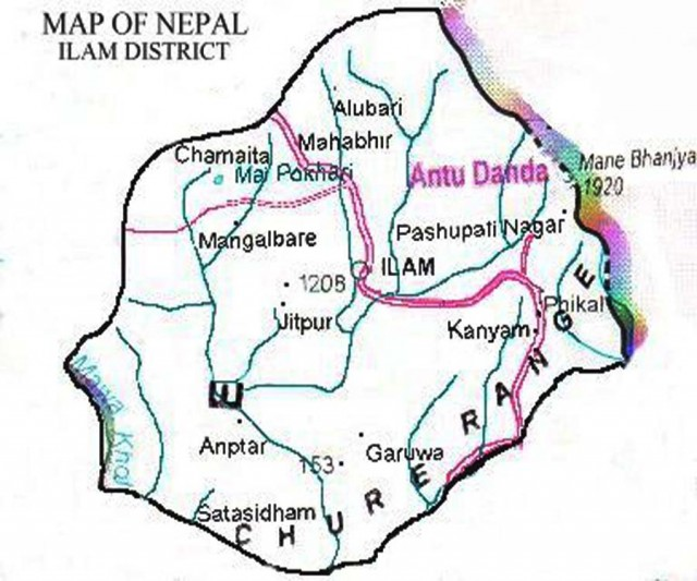 ilam_district-Map