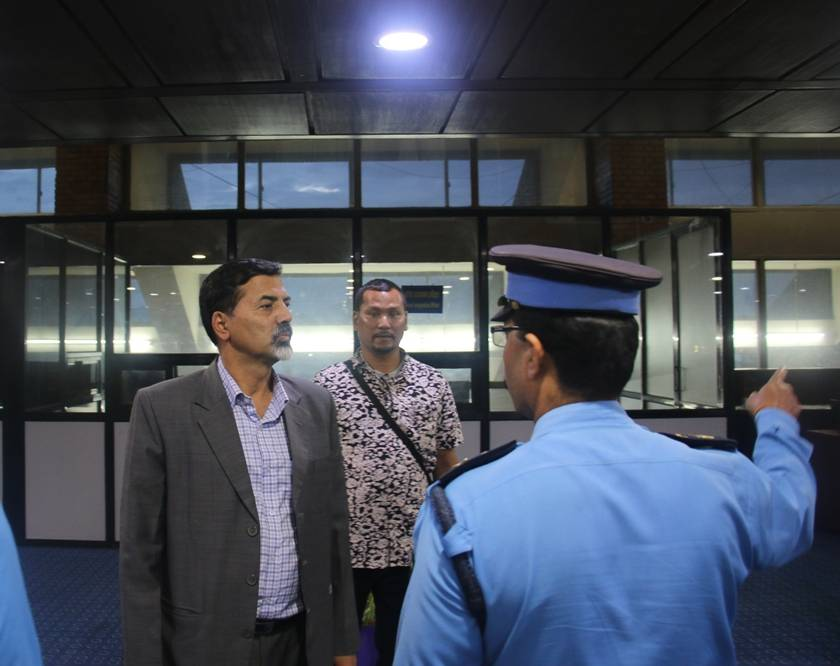 home minister sharma at airport-